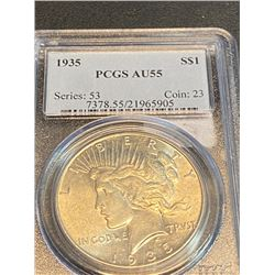 1935 AU 55 PCGS Peace Silver Dollar