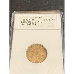 1858/7 ANACS MS EF 45 LDS - RARE FE 1 Cent