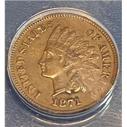 1871 XF AU  Indian Head Cent