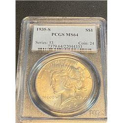 1935 s MS 64 PCGS Peace Silver Dollar