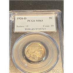 1926 d MS 63 PCGS Buffalo Nickel - Better in Grade