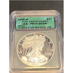 2006 W Proof Cameo 70 ICG US Silver Eagle