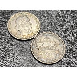 (2) 1893 Columbian Exposition Half Dollars