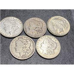 Lot of 5 Morgan and Peace Silver Dollars