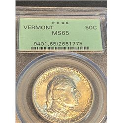 1927 VERMONT MS 65 OGH Half Dollar