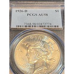 1926 d AU 58 PCGS Peace Silver Dollar
