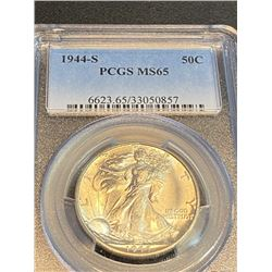 1944 S MS 65 PCGS alking Liberty Half Dollar