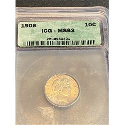 1908 MS 63 ICG Barber Dime