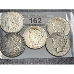 Lot of Peace and Morgan Silver Dollars