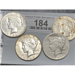 Lot of 4 US Peace Silver Dollars