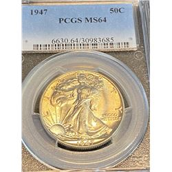 1947 ms 64 PCGS Walking Liberty Half Dollar
