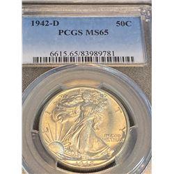 1942 d MS 65 PCGS Walking Liberty Half Dollar