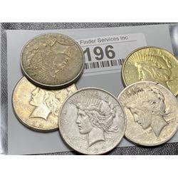 5 pcs. Peace Silver Dollars Mixed Dates and Grade