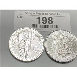 (2) 1 oz. Private Silver Rounds