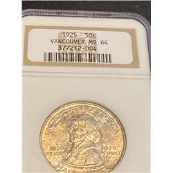 1925 Vancouver MS 64 NGC Half Dollar