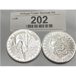 (2) 1 oz. Private Mint Silver Rounds