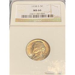 1938 s MS 66 NGC Jefferson Nickel