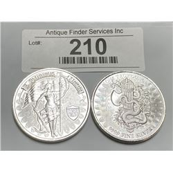 (2) Private Mint 1 oz Silver Rounds