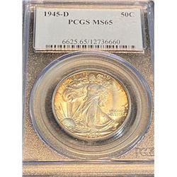 1945 d MS 65 PCGS Walking Liberty Half Dollar