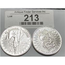 (2) 1 oz Private Mint Silver Rounds