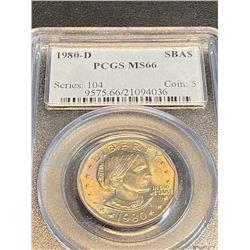 1980 d MS 66 PCGS SBA $1