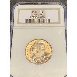 1980 s MS 66 NGC SBA $1