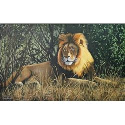 Artist's Original Painting 'Male lion in the Grass'