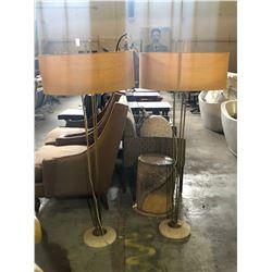 PAIR OF METAL MARBLE BASE FLOOR LAMPS