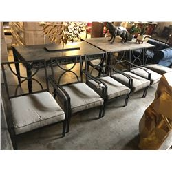 LOT OF 4 PATIO CHAIRS AND ONE PATIO LOVE SEAT