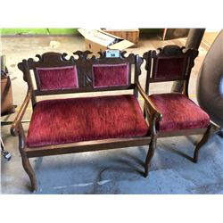 ANTIQUE CARVED SETTEE AND CHAIR