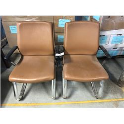 PAIR OF MODERN LEATHER ARM CHAIRS