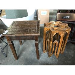 PAIR OF WOOD RUSTIC END TABLES