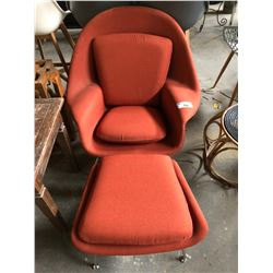 MODERN ARM CHAIR WITH OTTOMAN