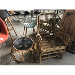VICTORIAN BAMBOO ARM CHAIR WITH SIDE TABLE