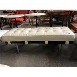 WHITE LEATHER MODERN BENCH