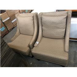 PAIR OF UPHOLSTERED HIGH BACK CHAIRS