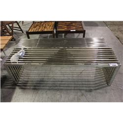 PAIR OF MODERN METAL HALL BENCHES