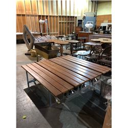 LOT OF 4 WOOD TOP AND METAL BASE BENCHES