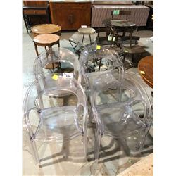 LOT OF 8 CLEAR PLASTIC MODERN CHAIRS