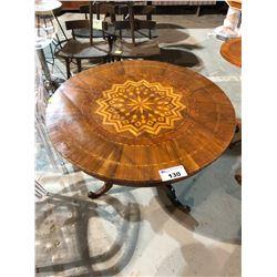 ANTIQUE INLAYED PEDESTAL TABLE (WALNUT)