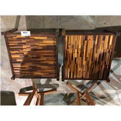 PAIR OF MODERN ROSEWOOD END TABLES NO GLASS