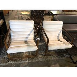 PAIR OF UPHOLSTERED MODERN ARM CHAIRS
