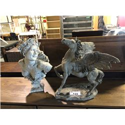 APPROX 2' TALL PEGASUS FIGURE AND BUST OF WOMAN