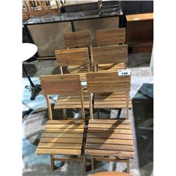 LOT OF 6 TEAK OUTDOOR FOLDING DECK CHAIRS