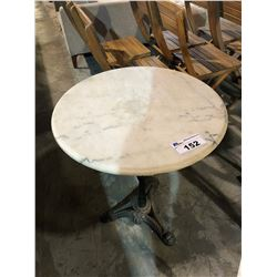 MARBLE TOP CAST IRON BASE CAFE TABLE