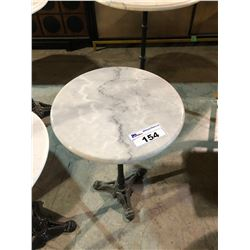 MARBLE TOP CAST IRON BASE SIDE TABLE