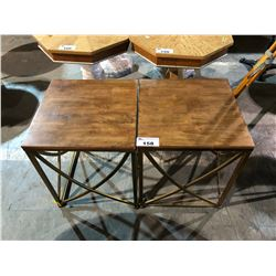 PAIR OF METAL BASED WOOD TOP SIDE TABLES