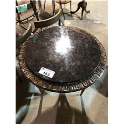 MARBLE TOP WOOD BASE OCCASIONAL TABLE