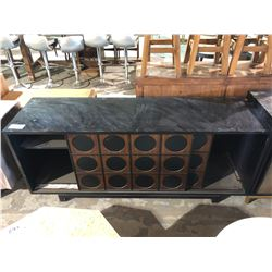 BLACK AND WOOD GRAIN SIDEBOARD