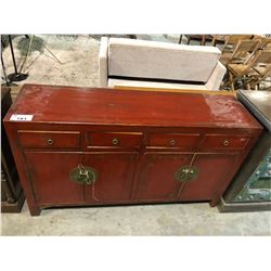 ASIAN STYLE RED PAINTED SIDEBOARD